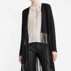 Zara jacket w/fringe S (NWT) *Sold Out! Black Knit jacket with fringe. Brand New, never worn Zara Jackets & Coats
