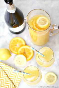 "Make this citrus sunshine punch for a baby shower and add champagne for a more ""festive"" touch"