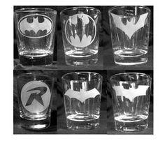 Batman Shot Glasses Custom Etched Set of 6