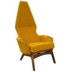 For Sale on - The dramatic form of Adrian Pearsall's angular chair, model belies its comfortableness. With a towering back and stylized walnut frame and armrests, Modern Armchair, Modern Chairs, Cool Furniture, Furniture Design, High Back Armchair, Adrian Pearsall, Mid Century Living Room, Mid Century Furniture, Mustard