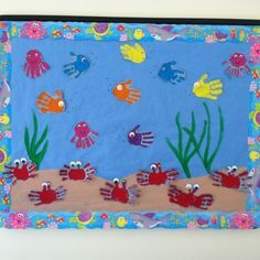 bulletin board with balloon display for reading area   Under the Sea bulletin board