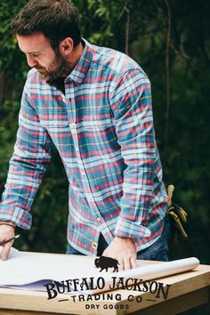 This mens flannel shirt is made of soft, sturdy, midweight flannel. Two front pockets with button flaps. This is not your pajama party flannel. (Or 90's grunge.) This is the flannel shirt he wants to wear (and you want to see him in).