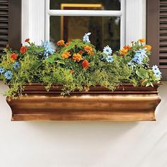 Lena Copper Finish Window Box makes a lovely accent to a window or a deck railing. Colorful flowers look even more vibrant against the antiqued copper finish of this window box. Window Planters, Outdoor Planters, Window Boxes, Planter Boxes, Outdoor Gardens, Outdoor Decor, Outdoor Spaces, Outdoor Ideas, Window Ideas