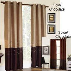 Horizon Embroidery Grommet 84-inch Curtain Panel overstock.com