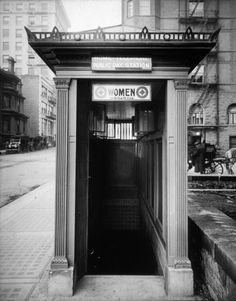 PUBLIC COMFORT: Early 20th Century Portland Oregon provided a pair of underground restrooms. The mens room was around the corner. Notice the narrow stairwell and the open windows near the roof line.