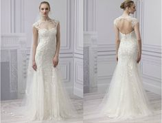 Radiance. Another beautiful gown from Monique Lhuillier Spring 2013 Bridal Collection. The detailing is impecable. Stunning chantilly lace, illuision cap sleeve with the lacework intricately continues around the shoulder to the sexy open back, sheath with embroidered tulle overlay and godet skirt. Totally fairy-tale-esque!