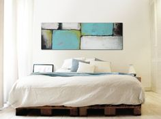 XL Abstract painting  Turquoise landscape  Acrylic by RonaldHunter, $399.00