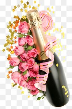 champagne rose festival, Champagne, Bottle, Flowers PNG Image and Clipart Happy Wedding Anniversary Wishes, Happy Birthday Wishes Cards, Anniversary Greetings, Love Anniversary, Happy Birthday Cakes, Birthday Greetings, Birthday Cards, Wine Bottle Images, Christmas Towels