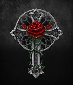 Art by Gothic Rose Celtic Cross Tattoos, Cross Tattoo For Men, Cross Tattoo Designs, Cross Wallpaper, Gothic Wallpaper, Rose Art, Armor Of God Tattoo, Dark Tower Tattoo, Gothic Background