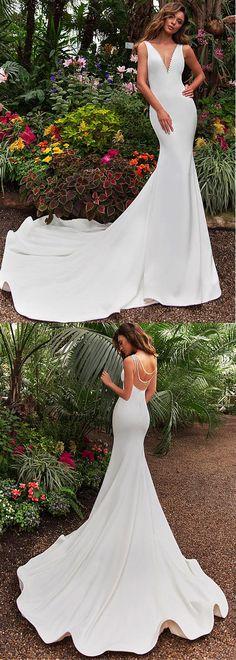 Stunning Tulle & Satin V-neck Neckline Mermaid Wedding Dress With Beadings