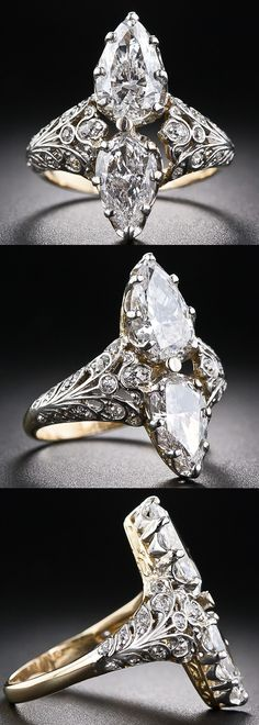 Edwardian twin-stone pear-shape diamond ring. This resplendent diamond dinner ring, dating back to the first decades of the 20th century, scintillates with a bright-white and shining pair of pear-shaped diamonds set back-to-back atop a finely handcrafted setting rendered in platinum over 18 karat gold, accented with tiny old-cut diamonds. The dazzling pair of pear-shaped diamonds respectively weigh 1.20 carats and .80 carats ( 2.00 carats total).  Via Diamonds in the Library.