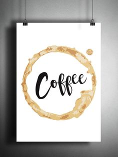 Coffee Stain  Digital Print Typographic Wall Art  by ArrtBox