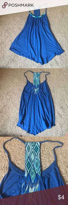 Blue ae  tank top Blue flowy handkerchief hem tank top from ae with cute beaded detailing on back American Eagle Outfitters Tops Tank Tops