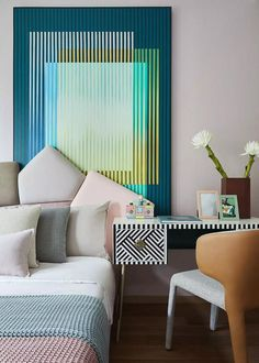 Ash blue model room design, showing the beauty of oriental elegance Loft Spaces, Kid Spaces, Interior Rugs, Interior Design Images, Space Interiors, Baby Room Decor, Kid Beds, Model Homes, Interiores Design
