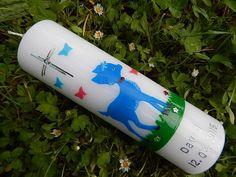 01 Taufkerze Kommunionkerze Junge Mädchen Blau NEU von Lenz  Kerzen auf DaWanda.com