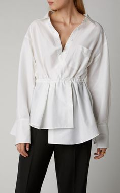 Shop Off-The-Shoulder Cotton-Blend Poplin Shirt . Launched by Rosie Assoulin to address the need for everyday clothes, By Any Other Name's peplum shirt is cut from a stretch cotton-poplin into an off-the-shoulder silhouette that's gathered at the waist. Muslim Fashion, Hijab Fashion, Fashion Outfits, Women's Fashion, Blouse Styles, Blouse Designs, Hijab Style, Peplum Shirts, Fashion Details