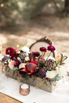 Autumn wedding flowers with burgundy details | http://fabmood.com - I love the artichokes!!!!!
