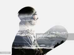 Stock Illustration : Snowboarder's silhouette in reflection of snowy mountains