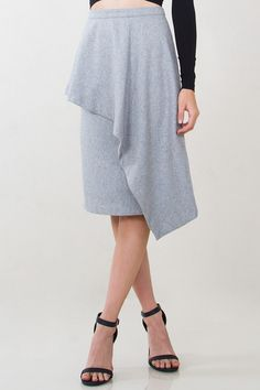 Structured and chic gray wool pencil skirt. Features a ruffled overlay in the front. Back zipper closure. - 55% Wool, 45% Polyester