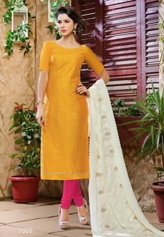 Chanderi Cotton And Jacquard Mustard And Pink Salwar Suit-7008