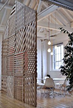 room divider wooden slat pattern