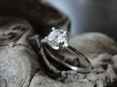 White Topaz  Promise Ring in Sterling Silver /  White Topaz Sterling Silver Ring / 5mm White Topaz