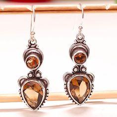 SMOKEY-TOPAZ-GEMSTONE-925-SILVER-JEWELRY-EARRING-1-95-034 Sterling Silver Jewelry, 925 Silver, Smokey Topaz, Topaz Gemstone, Drop Earrings, Gemstones, Handmade, Hand Made, Gems