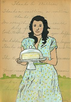 Cake Dome Hand Painted Gocco Print (Gouache and Ink) on Antique Journal Page. amyrice.com