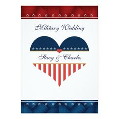 US Patriotic Heart Personalized Wedding Invitation