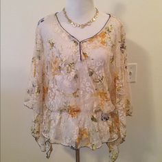 Selling this Free People Sheer Lace Batwing Top in my Poshmark closet! My username is: mrshljones. #shopmycloset #poshmark #fashion #shopping #style #forsale #Free People #Tops