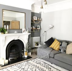 and work together to create a harmonious grey colour scheme in this contemporary living room. The subtle mustard accents… – Living Room Living Room Color Schemes, Living Room Colors, New Living Room, Living Room Designs, Colour Schemes Grey, Grey Living Room Ideas Colour Palettes, Living Room Decor Colors Grey, Lounge Colour Schemes, Farrow And Ball Living Room