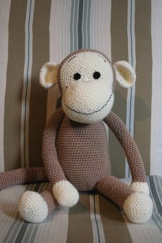 you adorable monkey! Crochet Projects, Diy Projects, Crochet Accessories, Funny Cute, Create Your Own, Teddy Bear, Afghans, Monkeys, Knitting