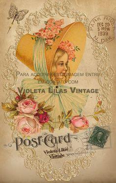 Violeta lilás Vintage: Cartão Postal Antigo