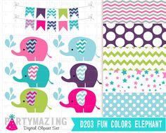 Elephant Clip Arts Chevron Fun Colors Elephant  by Partymazing