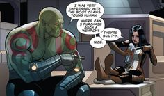Drax loves those... shoes? (Drax and X-23! This is pretty rad, not gonna lie!!)