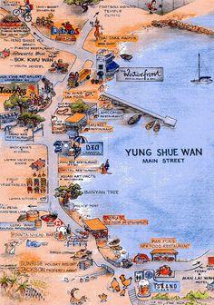 Lamma Island, Billionaire Books, Globe Crafts, Pictorial Maps, Tin Art, Travel Illustration, Wall Maps, Map Design, Travel Maps