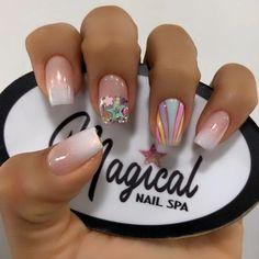 Super Cute Nails, Pretty Nails, Pretty Nail Designs, Nail Art Designs, Disney Acrylic Nails, Kawaii Nail Art, Soft Nails, Basic Nails, Stylish Nails