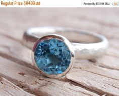 SALE 10% OFF blue topaz ring 7mm natural swiss blue by preciousjd