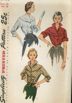 1950's Simplicity 3700 Sewing Pattern Marvelous Bodice Interest Blouses Bust 38