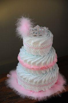 Three Tier Baby GIrl DIaper Cake by BabyCreationsByJenn on Etsy, $78.00