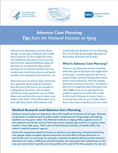 Get your advance directive papers in order. Read about having a health care proxy and living will to plan for medical, palliative, and hospice care.