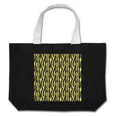Yellow and Black Zebra Print Canvas Bags