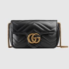 GUCCI GG Marmont matelassé leather super mini bag - black chevron leather.   gucci   61492e1544f6