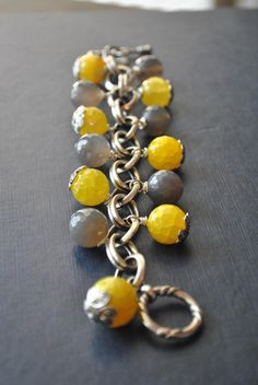 www.teresajewelry.etsy.com  LEMON and GREY  spider web yellow agate and grey by TERESAJEWELRY, $65.00