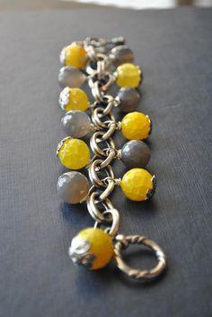 www.teresajewelry.etsy.com  LEMON and GREY  spider web yellow agate and grey by TERESAJEWELRY, $65.00