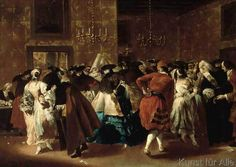 Giovanni Antonio Guardi - Maskenball im Großen Saal des Ridotto im Palazzo Dandolo in Venedig