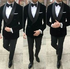 Males Black Velvet Double Breasted Go well with Groom Tuxedo Formal Marriage ceremony Go well with Customized - Best Suit's Black Tuxedo Wedding, Groom Tuxedo Wedding, Wedding Tuxedos, Groomsmen Tuxedos Black, Prom Tuxedo, Formal Tuxedo, Dress Suits For Men, Men Dress, Black Prom Suits For Men
