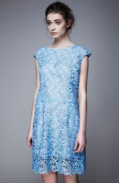 Morpheus Boutique  - Blue Hollow Out Floral See Through Hem Pencil Dress
