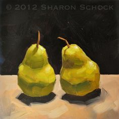 Fruit still life painting - Two Pears - 6x6. $85.00, via Etsy.