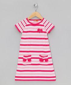Red, White & Pink Stripe Dress - Infant & Girls